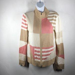 St. John tan and pink zip cardigan size p